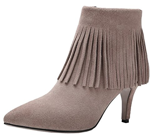 SHOWHOW Women's Retro Fringe Pointy Toe Faux Suede High Heels Zip Up Boots Apricot 10 B(M) US