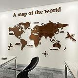 Pegatinas de Pared 3D DIY Mapa del Mundo Vinilos Pegatina Pared Murales Stickers Mapa Adhesivo Decorativo de Pared para Salón, Dormitorio, Oficina, Habitación, Hogar(Marrón,M)