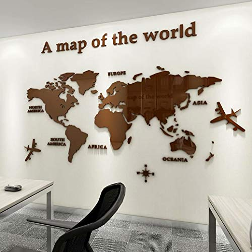 3D Wall Stickers - DIY World Map Wall Decal Sticker Murals Map Wall Décor for Nursery Living Room Bedroom TV Background Home Decorations(Brown,M: 120x60 cm)