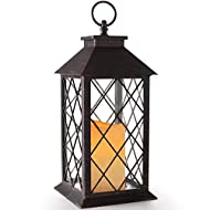 """Bright Zeal 14"""" Vintage Outdoor Candle Lantern Decorative with LED Candle (Distressed Bronze, 6hr Timer) - Tabletop Lanterns Decorative Outdoor - Home Lanterns Battery Powered - Hanging Lanterns"""