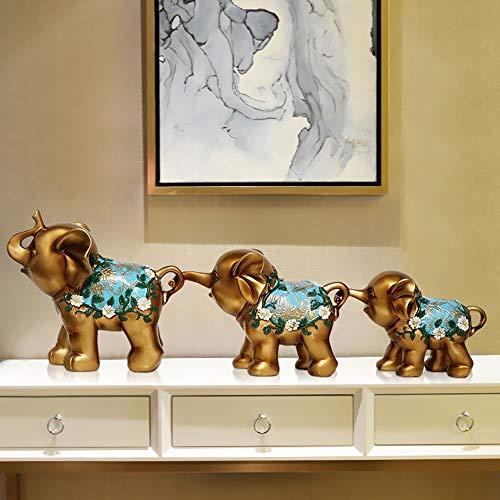DAMAI STORE 3 / Satz von kreativem Spaß Kunsthandwerk DREI goldene Studie Elefanten Geschenk Ornamente Harz Kinderwohnkultur Wohnzimmer Vorraum