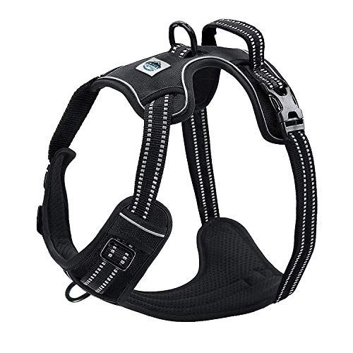 Dog Harness No Pull No Choke Adjustable Vest, Car Safety, Easy Control for Walking Hiking, 3M Reflective Oxford Material, Durable, Breathable - Small,Medium, Large & Extra Large Dog & Puppy XL-Black