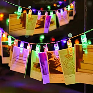 Ohbingo 30 Led Outdoor Christmas Lights Photo Clips String Lights 12ft USB Operated Fairy Lights Patio Lights for Xmas, Bedroom, Indoor, Party, College Dorm Room, Ideal Gift Multicolor