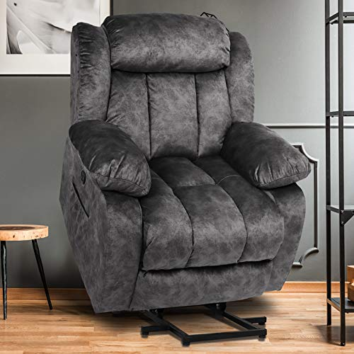 Power Recliner Chair for Elderly, Massage Lift Reclining Chairs with Heat & Vibration, Heavy Duty Electric Plush Fabric Sofa Home Living Room Chairs,Dark Gray