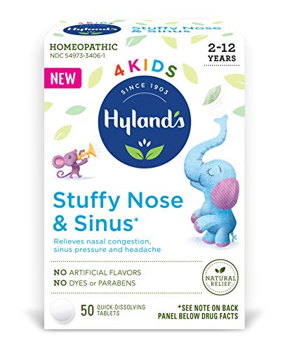 Hyland's 4 Kids Stuffy Nose & Sinus Cold and Allergy Medicine for Children Ages 2+ Headache Relief and Nasal Decongestant, 50 Tablets