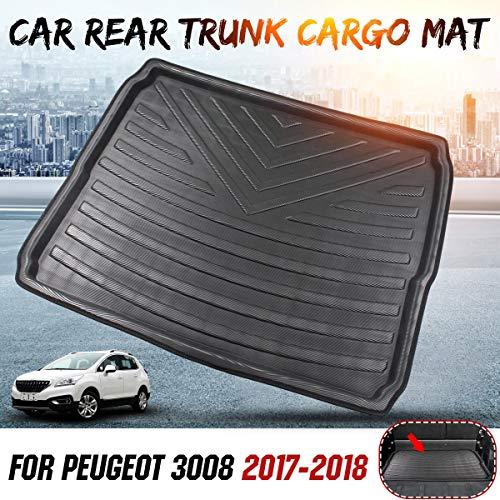 Alfombrilla para Maletero Interior del coche de línea de carga de arranque bandeja posterior de la cubierta del tronco Mat alfombra del piso de la alfombra Kick Pad compatible con Peugeot 3008 2017 20