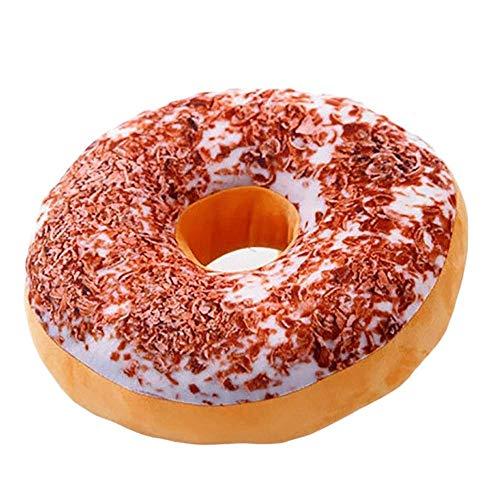 ZMRWJ Coussin Rond à Beignet de la Collection Jouet-Cheer en Peluche  Oreiller Donut Super Doux Réversible - Glaçage Au Chocolat, Rainbow Sprinkles (Color : D)