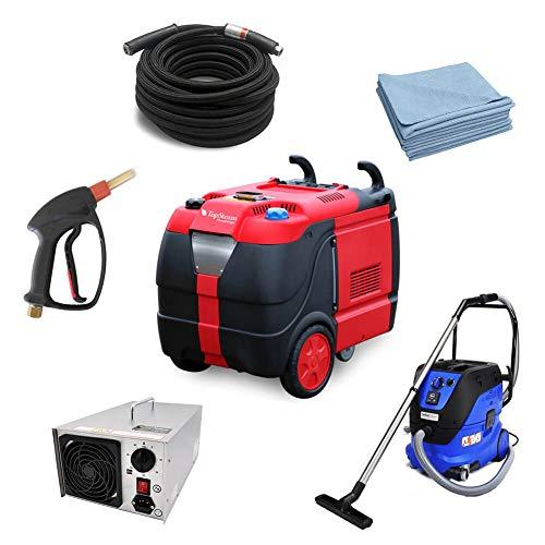 TopSteam XD Diesel - Limpiador a vapor para limpieza de vehículos, incluye aspiradora en seco/húmedo, generador de ozono y paños de microfibra