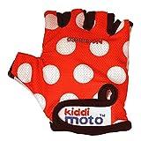 Kiddimoto Kinder Fahrradhandschuhe Fingerlose für Jungen und Mädchen / Fahrrad Handschuhe / Bike Kinder Handschuhe - Rote Punkte - S (2-5y)