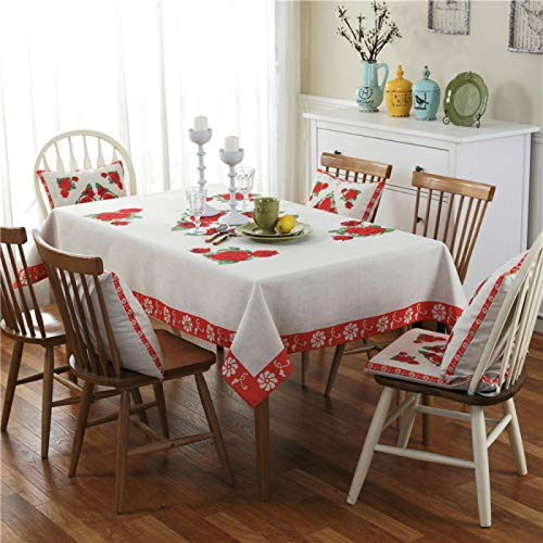 YOUYUANF Tablecloth rectangular linen disposable Square cleaned linen tablecloth water-resistant tablecloth casual tableclothRose flower140x140 cm