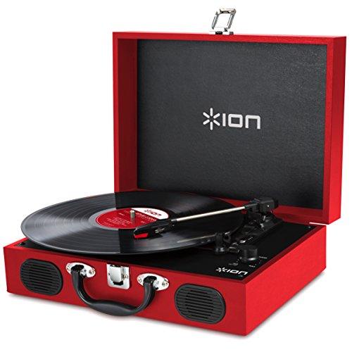 ION Audio Vinyl Transport - Giradischi Valigetta Portatile con Casse, Tre Velocità (33 1/3, 45 E 78 Giri), Alimentabile anche a Batterie - Rosso