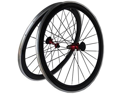 Flyxii carbonio 3 k-Set di ruote per copertoncino e camera d'aria per bicicletta da strada, 50 mm, cerchione in lega con mozzo a lato, colore: rosso, per shimano 8/9/10/11S