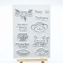 Welcome to Joyful Home 1pc Happy Fall Thanksgiving Clear Stamp for Card Making Decoration and Scrapbooking