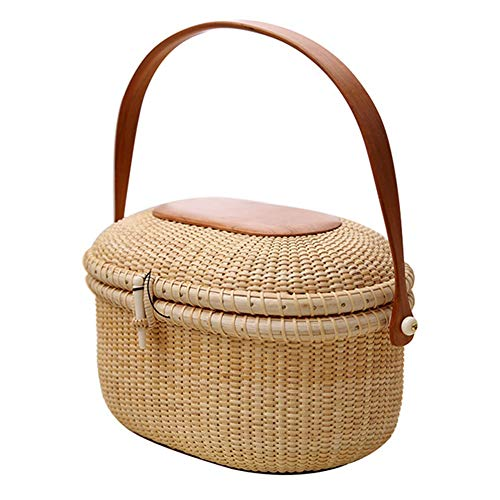 MOXIN Wicker Picnic Basket Natural Woven Woodchip with Folding Handle and Lid, Natural Eco Friendly Basket Storage, Ideal for Storage Plant Pot Basket, Laundry, Picnic and Grocery Basket,Brown