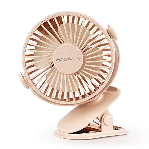 Desk fan, Clip on Fan, USB Fan Rechargeable with 3 Speed Cooling Noiseless Silent Fan with Strong Airflow Adjustable Desktop Fan for Office and Home (Pink)