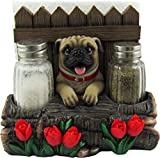 DWK - Pugsley's Feast - Adorable Pug with Red Tulips Napkin Salt & Pepper Shaker Holder Puppy Dog Home Décor Kitchen Accessory Dining Accent 3-Piece Set, 6-inch'