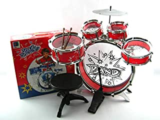 MeeYum Kids Rock n Roll Little Boys Band Drum Set with Stool (red)