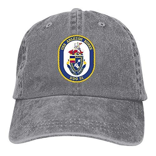 MERCHA Baseball Cap USS Arleigh Burke DDG-51 Retro Washed Dyed Cotton Adjustable Cowboy Hat Dad Hat Gray