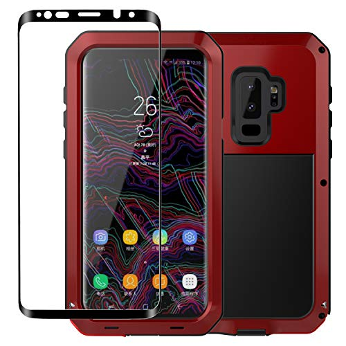 Galaxy S9 Case,Tomplus Armor Tank Aluminum Metal Shockproof Military Heavy Duty Protector Cover Hard Case for Samsung Galaxy S9 (Red)