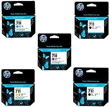 HP 711 Ink Cartridge T120 Printer Bundle 1 Consists of 2X 711 80ml Black Ink Cartridge, 711 3-Pack 29-ml Cyan, 711 29ml Ma...
