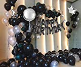 DAYPICKER Nero Argento Decorazioni per Feste di Compleanno, 110 pezzi Nero Argento Palloncini per per Adulti, Palloncini Argento Nero Oro, Foil Corona Happy Birthday Bandiera Palloncino