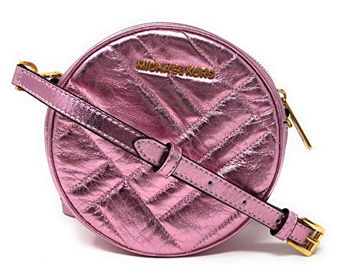 "Metallic quilted leather with gold tone hardware. Approximate diameter: 6.5"", depth 2.25"". 18""-22"" adjustable and removable crossbody strap. Interior: 1 slip pocket. Top zip closure."