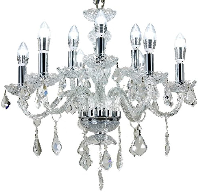 Diamond Life 9-Light 2-Tier Chrome Finish Crystal Chandelier Pendant Ceiling Light Clear European Crystal, 22  Wide