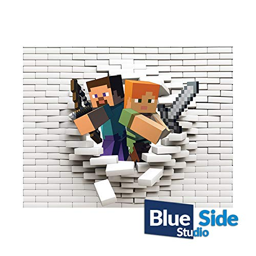 Minecraft Characters Comming Out 3D Hole in The Wall Effect Self Adhesive Wall Sticker Art Decal Mural, 125cm x 94cm