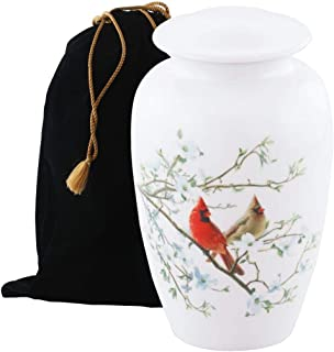Eternitymart's Serenity Painted Cremation Urn - Affordable Metal Urn - Hand Painted Solid Metal Urn for Ashes, Adult Cremation Urn with Free Velvet Bag (Cardinal on Dogwood)