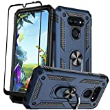 Swoders for LG Xpression Plus 3 Case with Tempered Glass Screen Protector Kickstand Hybrid Armor Rotatable Ring Heavy Duty Case Magnetic Support for LG Xpression Plus 3 - Blue