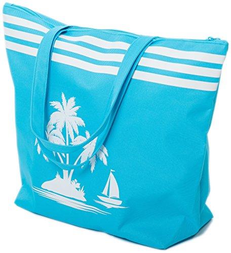 AIREE FAIREE Strandtasche Damen Schultertasche Shopper Sommer TascheVerschluss Reißverschluss Größe 50 x 40 x 16 cm Palme-Muster (Blau)