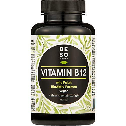 Vitamine B12 BeSoHappy® (180 Comprimés Pendant 6 Mois) μg 1000 Méthylcobalamine avec Folate ou Acide Folique - Testé en Laboratoire et Approuvé en Allemagne | Vegan, Sans Gluten et Sans Lactose