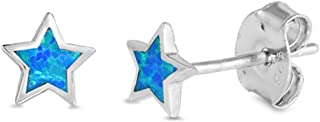 Cute Opal Star Stud .925 Sterling Silver Earrings COLORS AVAILABLE