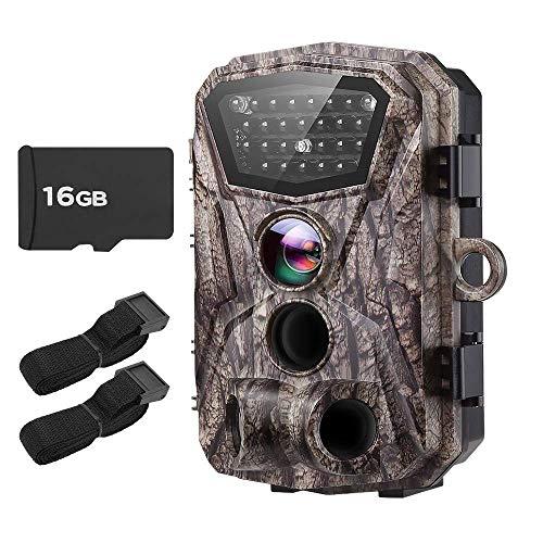 Boblov Cámara de Caza Vigilancia 18MP HD 1080P Impermeable Trail Cámara H883 con 2.4'' LCD Pantalla IR Leds Visión Nocturna 120 Ángulo Amplio Sensor de Movimiento con Extra 16G Tarjeta y Cinturones
