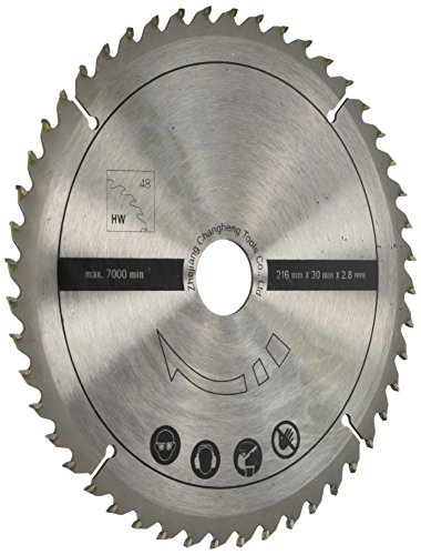 Scheppach 7901200705 Zubehör Säge/HW-Universalsägeblatt, passend für die Multifunktionssäge HM80MP, eignet Sich für Vollholz und Laminat, Durchmesser 216 x 30 x 2,8 mm / 48 Z