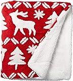 Vera Bradley womens Fleece Cozy Life Throw Blanket D cor, Reindeer Intarsia Red, 72 x 50 US