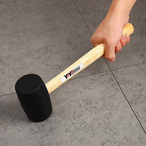 YIYITOOLS Rubber Mallet With Wood Handle, 24oz,Black,Lightweight and Durable   Double-Faced Solid Rubber Head, Hammer   Rubber Hammer   Wooden Mallet