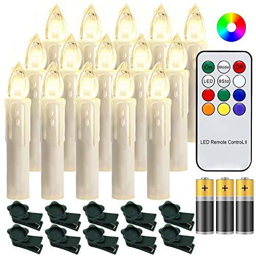 Hengda 30 Stück LED Weihnachtskerzen mit Fernbedienung RGB Kerzen Lichterkette mit Batterien Christbaumkerzen Kabellos LED Kerzenlichter Weihnachts