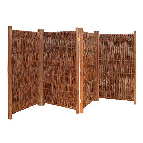 Gartenpirat Weiden-Paravent Raumteiler 4-teilig 240x180 cm (LxH) aus Holz + Weide geflochten