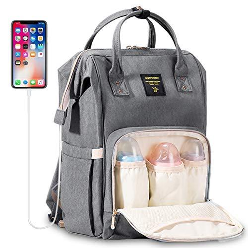 Große Baby Wickeltasche Rucksack - SUNVENO Wickelrucksack Wasserdicht mit Wickelunterlage 16 Taschen Inklusive 3 Milchisolierungstaschen, Baby Windelrucksack mit USB-Anschluss und Freiem Kabel, Grau