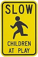 学校の看板、遊びの遅い子供たちインチのブリキの看板、屋外の看板庭の看板黄色に黒