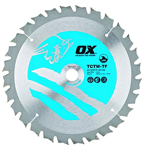 OX Tools OX-TCTW-TF-1841628 OX Hoja de Sierra Circular Fino de Corte de Madera 184/16mm, Dientes, 0 V, Silver/Blue, 28 Teeth ATB