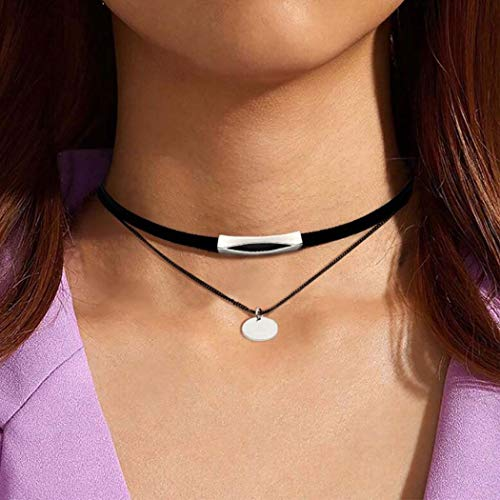 Handcess Punk Double Layered Necklace Silver Sequins Choker Gothic Black Velvet Bar Necklaces Chain for Women and Girls