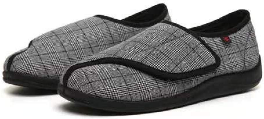 TDYSDYN Calzado OrtopéDico Ajustable para Artritis,Los Zapatos de enfermería de Primavera y otoño se Pueden Ajustar, Zapatos de Velcro de celosía de pies Anchos y Gruesos-Negro_48