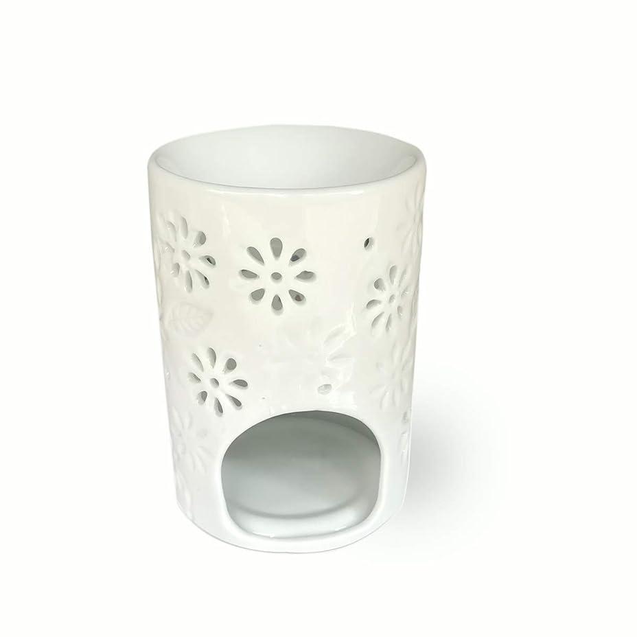 深さ乳白考え(Vase Shaped) - ToiM Milk White Ceramic Hollowing Floral Aroma Lamp Candle Warmers Fragrance Warmer Oil Diffuser Essential Oil Lamp Aromatherapy Furnace Ceramic Incense Burner Wax Melt Warmer (Vase Shaped)