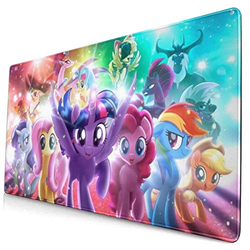 Cartoon Cute Rainbow Pony My Little Pony Mouse Pad,Rubber Non-Slip Electronic Sports Oversized Gaming Large Mouse Mat, Rectangular Mouse Pads 15.8 X 29.5 Inch