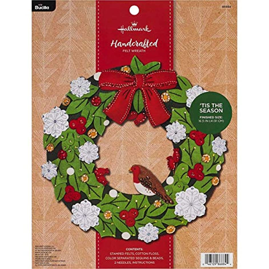 Bucilla 86884 Hallmark Felt Wreath Kit, 16.5