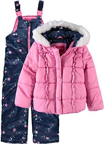 London Fog Little Girls Star Print 2-Piece Snowsuit - pink/navy, 5-6