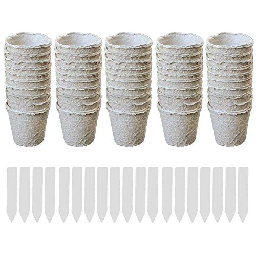 Gosear 50pcs Rondes Tourbe Pots Début de Semis Tasses Herbes Pépinière Semences Biodégradables Pots avec étiquettes Fabricant