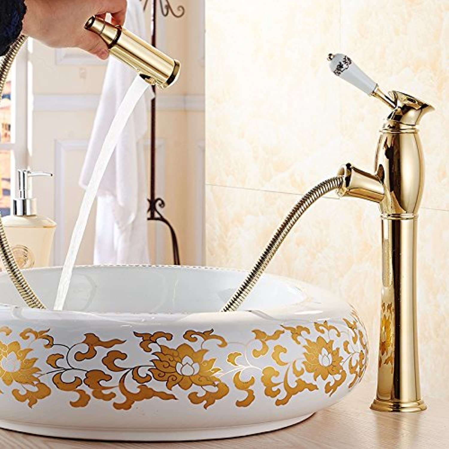 LHbox Basin Mixer Tap Bathroom Sink Faucet Europe Ya poetry pull continental basin faucet full-scale copper cold water wash-basin sink tap on the lower leg Antique colors, high pin gold